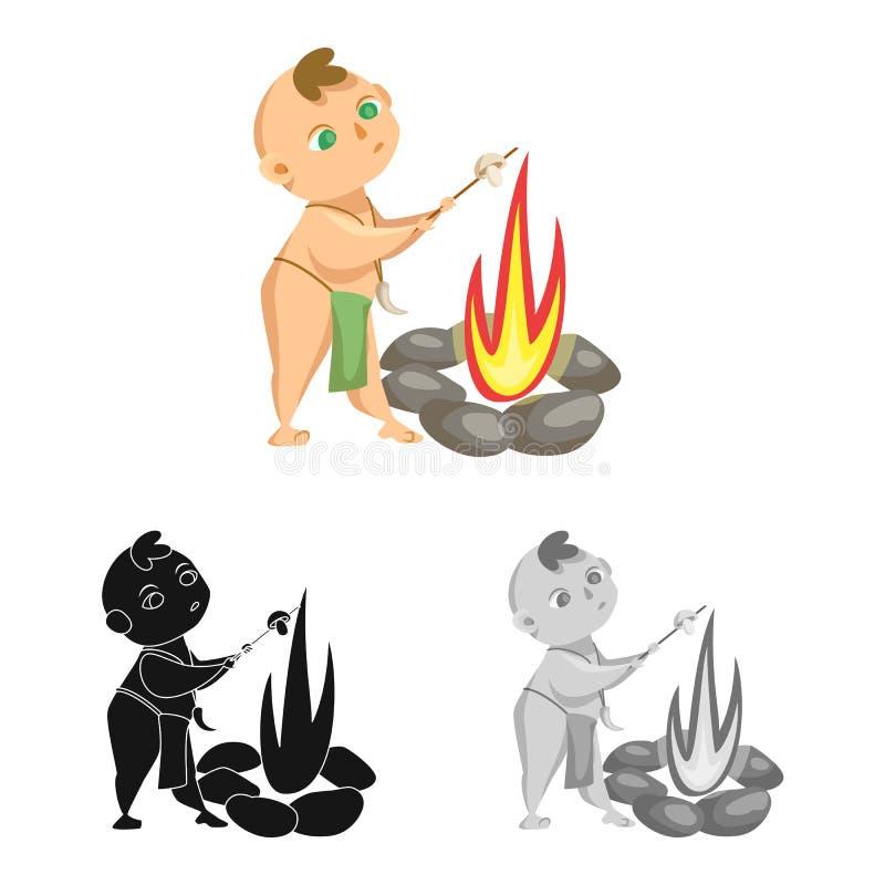 Objeto isolado da criança e do símbolo pré-histórico Coleção do ícone do vetor da criança e das pedras para o estoque ilustração do vetor