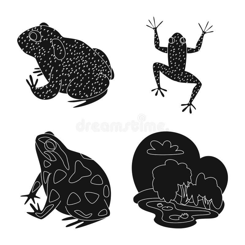 Objeto isolado da fauna e do logotipo do réptil Coleção da fauna e da ilustração conservada em estoque anuran do vetor ilustração do vetor