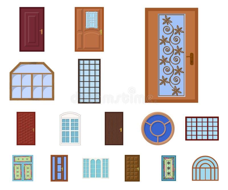 Objeto isolado da porta e do sinal dianteiro Grupo de porta e de símbolo de ações de madeira para a Web ilustração stock