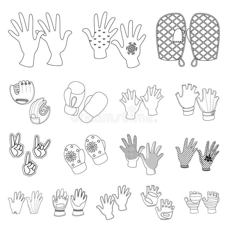 Objeto isolado de símbolo de estilo e acessórios Coleção de símbolo de material acessório e distintivo para a Web ilustração do vetor