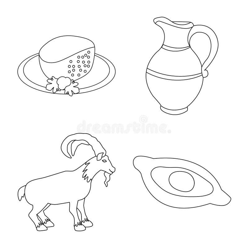 Objeto isolado de tradições e logótipo nacional Conjunto de tradições e ícone de vetor de visão para estoque ilustração do vetor