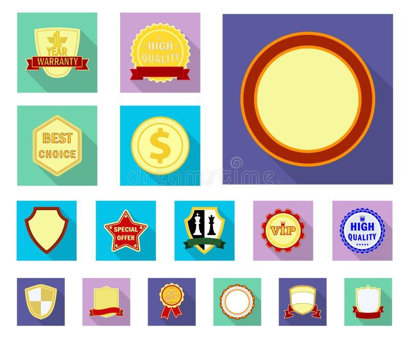 Objeto isolado do ícone do emblema e do crachá Coleção da ilustração conservada em estoque do vetor do emblema e da etiqueta ilustração do vetor