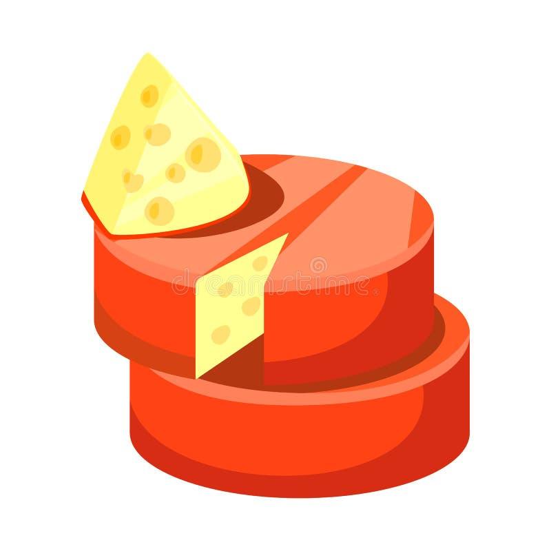 Objeto isolado do ícone do queijo e do queijo Cheddar Ajuste do símbolo de ações do queijo e do Parmesão para a Web ilustração do vetor