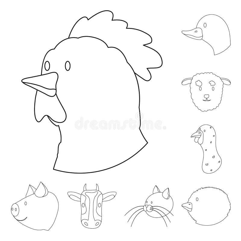 Objeto isolado do alimento e do sinal caseiro Ajuste da ilustração do vetor do estoque do alimento e da herdade ilustração do vetor