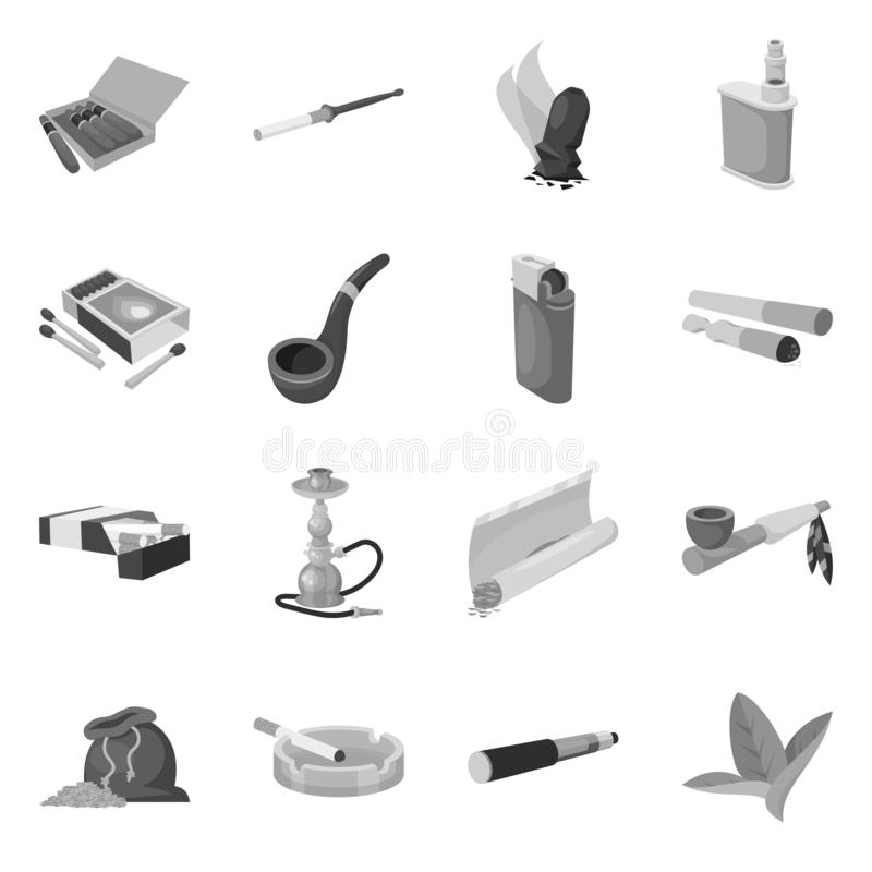 Objeto isolado do equipamento e do ícone de fumo Grupo de equipamento e da ilustração conservada em estoque do vetor do dano ilustração stock