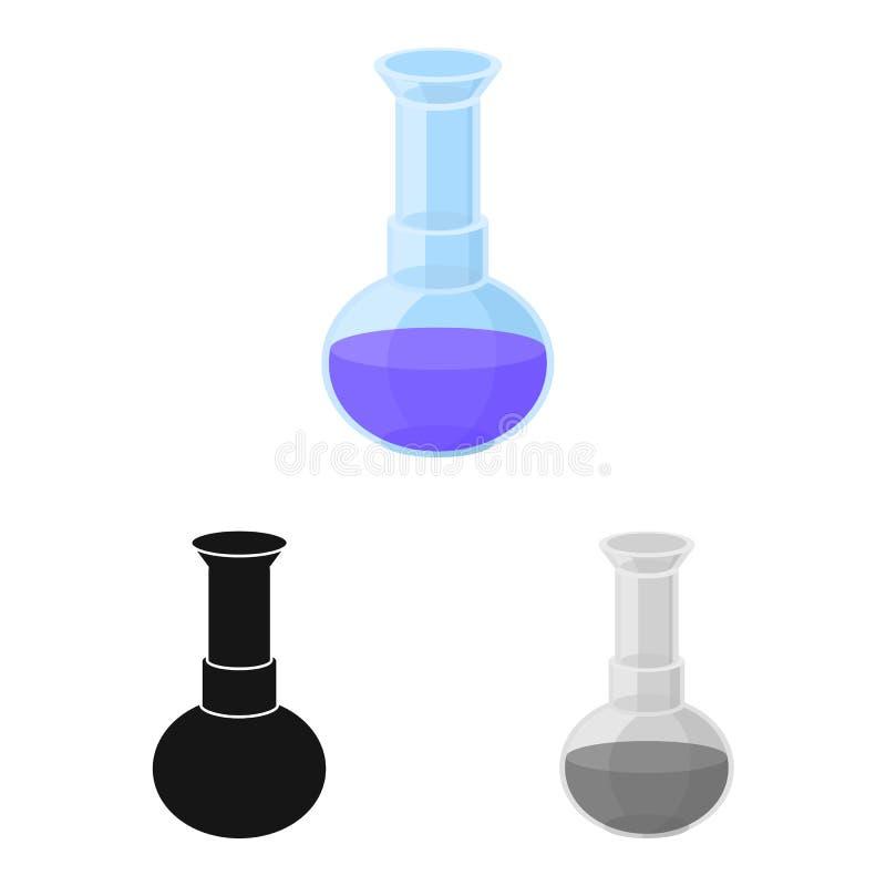 Objeto isolado do frasco e do símbolo laboratorial Elemento Web do balão e da ilustração do vetor de análise ilustração stock