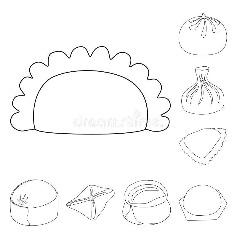 Objeto isolado do logótipo dos alimentos e dos pratos Ícone do conjunto de alimentos e de vetores de cozinha para ações ilustração stock