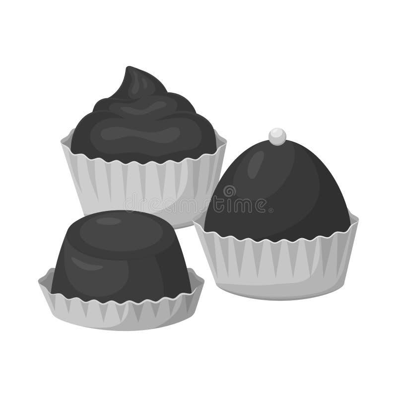 Objeto isolado do logotipo do bolo e do chocolate Ajuste do ícone do vetor do bolo e do queque para o estoque ilustração royalty free