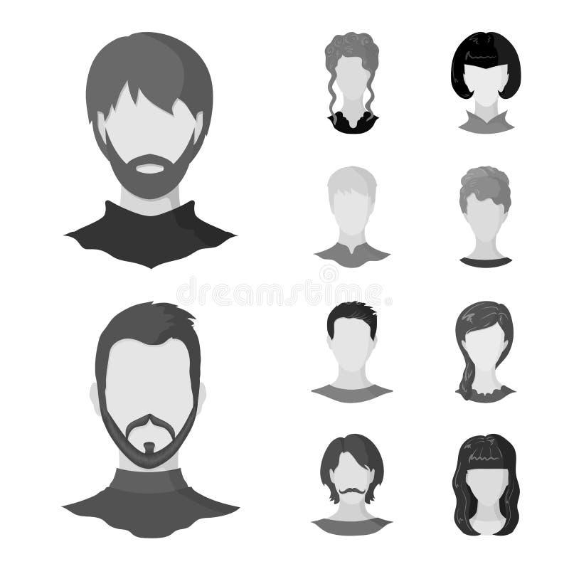 Objeto isolado do logotipo do caráter e do perfil Ajuste do símbolo de ações do caráter e do manequim para a Web ilustração stock