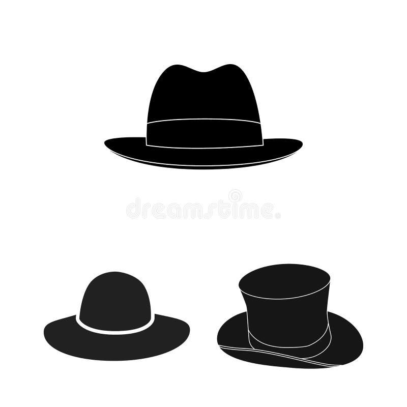 Objeto isolado do logotipo do chapéu e do tampão Ajuste do chapéu e do ícone modelo do vetor para o estoque ilustração do vetor