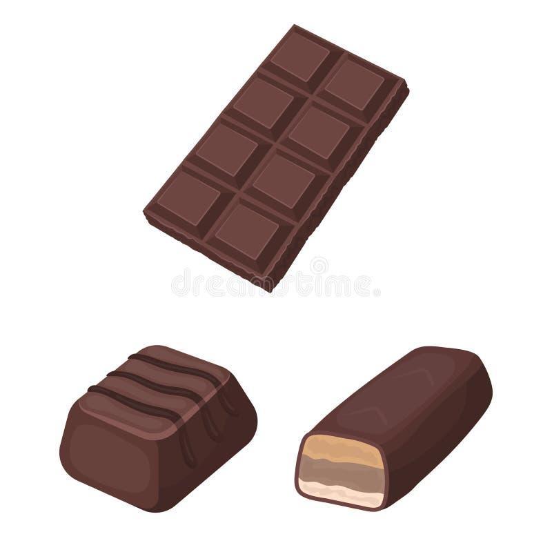 Objeto isolado do logotipo do chocolate e do sabor Ajuste da ilustração do vetor do estoque do chocolate e do pedaço ilustração do vetor