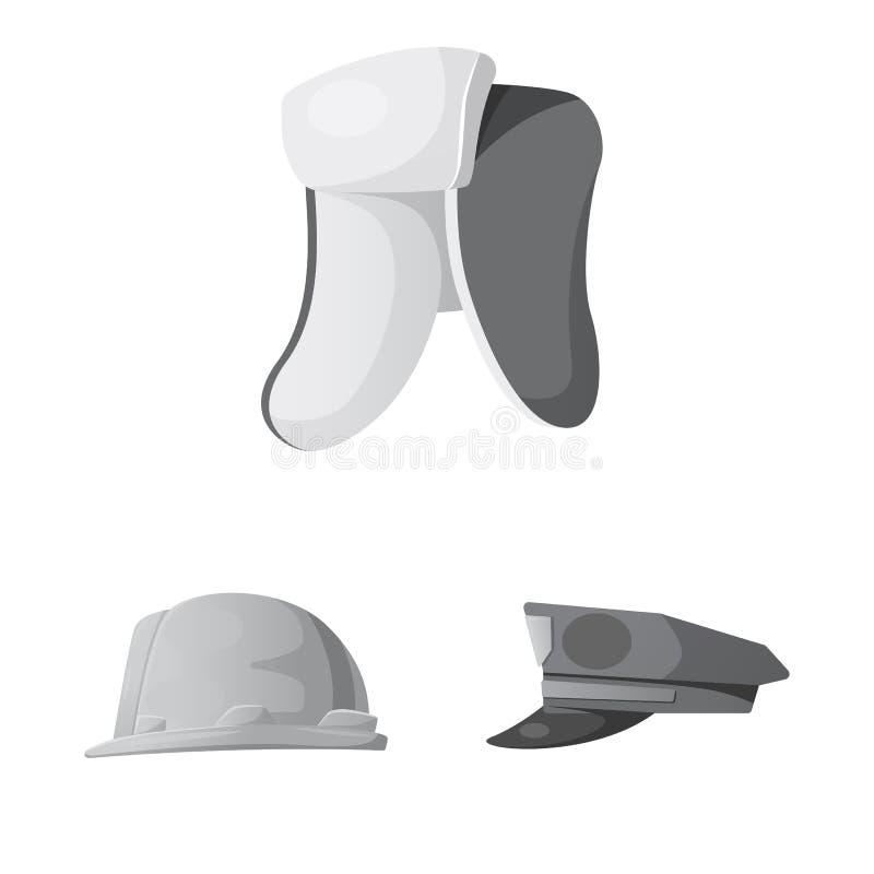 Objeto isolado do logotipo do headwear e do tampão Coleção do ícone do vetor do headwear e do acessório para o estoque ilustração do vetor