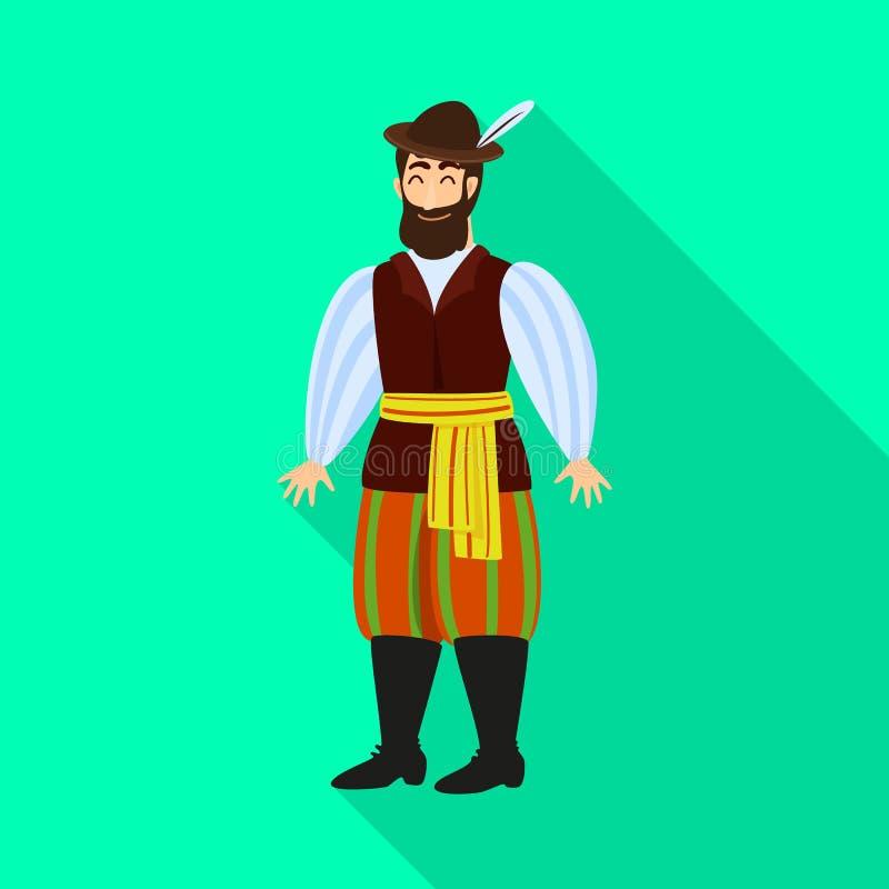 Objeto isolado do logotipo do homem e do polimento Ajuste da ilustração do vetor do estoque do homem e do traje ilustração stock