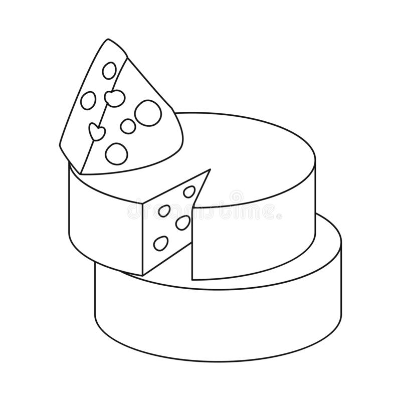 Objeto isolado do logotipo do queijo e do queijo Cheddar Coleção do ícone do vetor do queijo e do Parmesão para o estoque ilustração royalty free