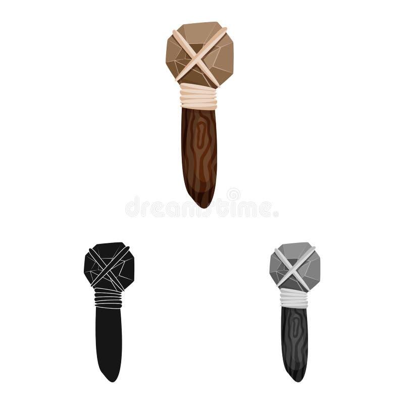 Objeto isolado do martelo e do símbolo pré-histórico Ajuste do símbolo de ações do martelo e da ferramenta para a Web ilustração royalty free
