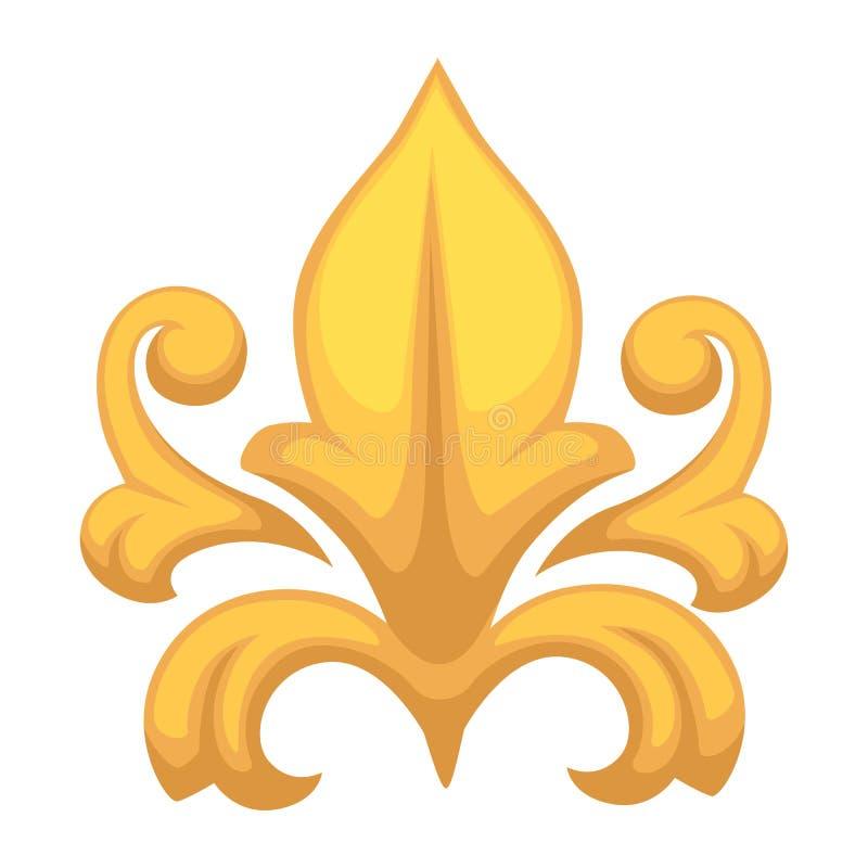 Objeto isolado do ouro da decoração do ouro elemento floristic barroco ilustração stock