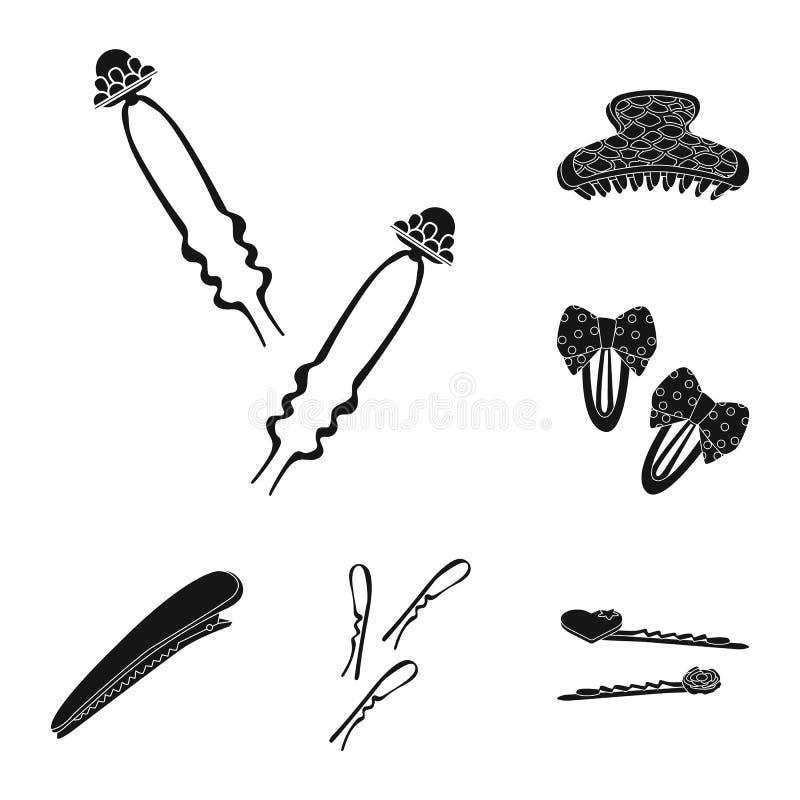 Objeto isolado do penteado e do logotipo fêmea Ajuste do ícone do vetor do penteado e do cabelo para o estoque ilustração stock