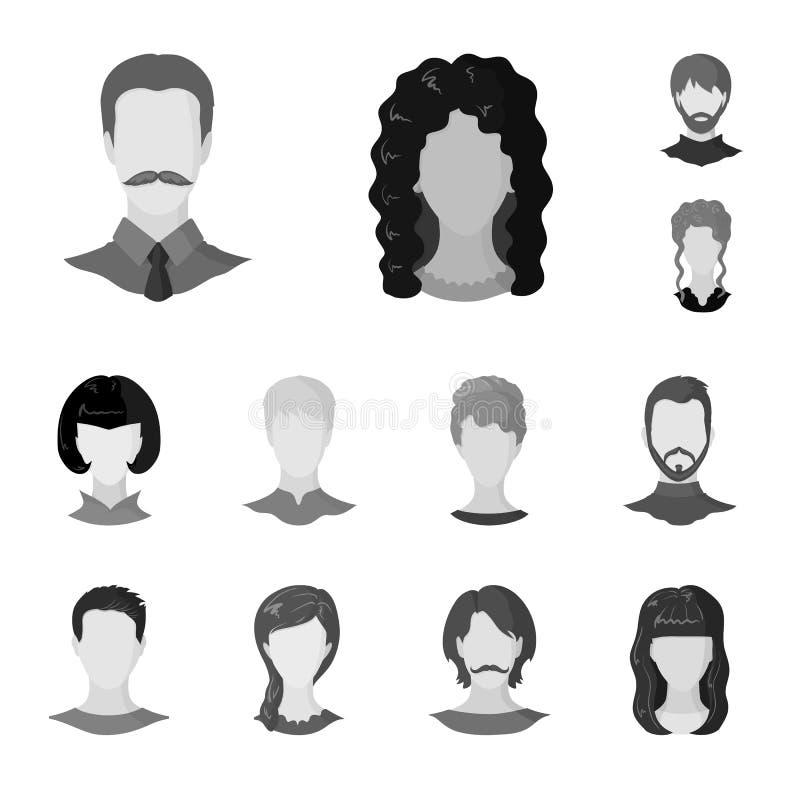 Objeto isolado do símbolo do caráter e do perfil Coleção do ícone do vetor do caráter e do manequim para o estoque ilustração stock