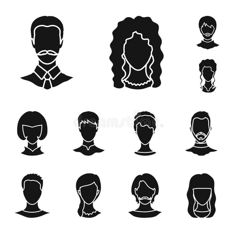 Objeto isolado do símbolo do caráter e do perfil Coleção da ilustração do vetor do estoque do caráter e do manequim ilustração do vetor