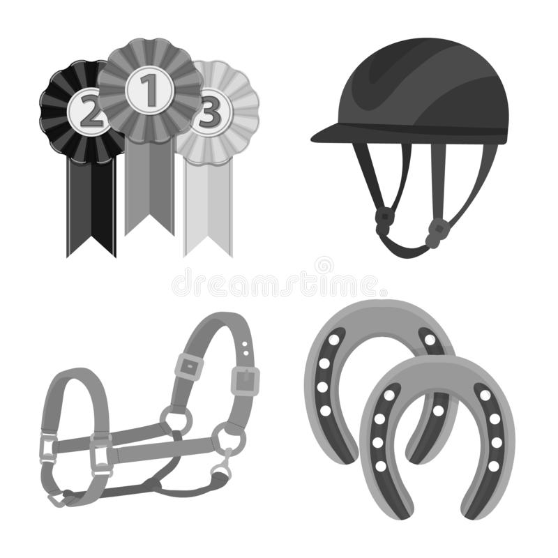 Objeto isolado do símbolo da raça e do cavalo Coleção da raça e de competir a ilustração conservada em estoque do vetor ilustração stock