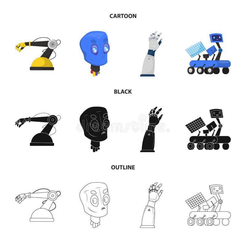 Objeto isolado do símbolo do robô e da fábrica Grupo da ilustração conservada em estoque do vetor do robô e do espaço ilustração stock