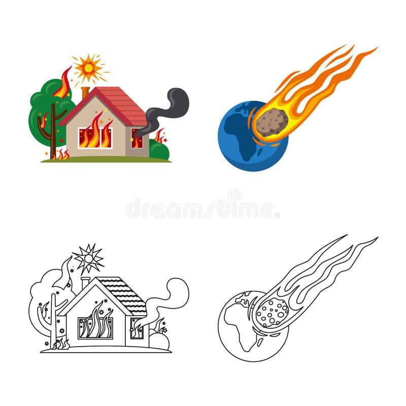 Objeto isolado do s?mbolo natural e do desastre Grupo de ?cone natural e do risco do vetor para o estoque ilustração do vetor