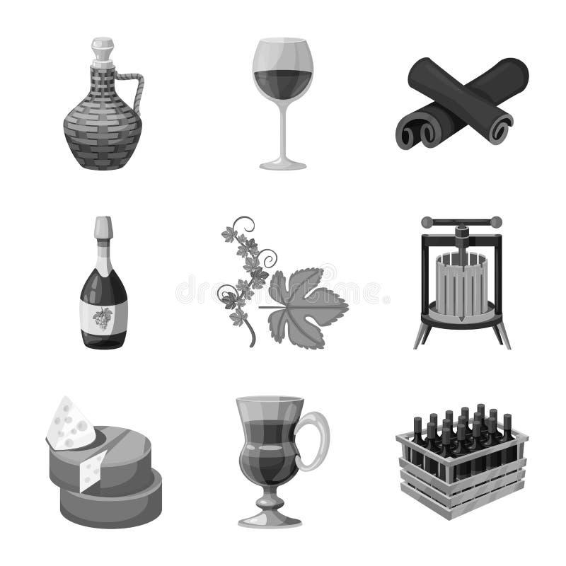 Objeto isolado do selo e do ícone do restaurante Ajuste da ilustração do selo e do vetor do estoque do vinhedo ilustração do vetor