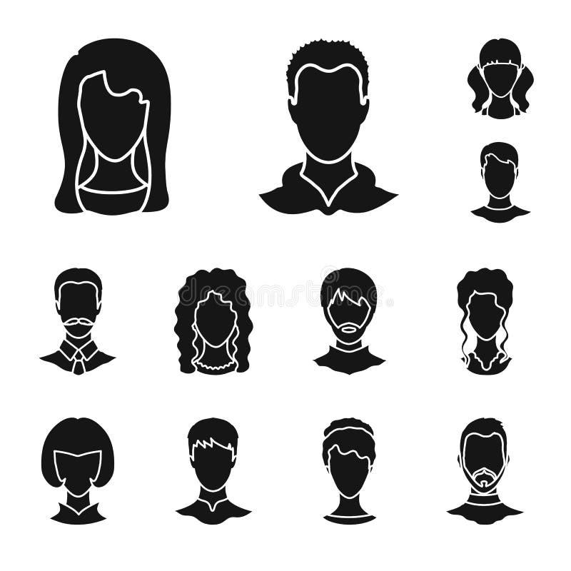 Objeto isolado do sinal do caráter e do perfil Ajuste do símbolo de ações do caráter e do manequim para a Web ilustração do vetor