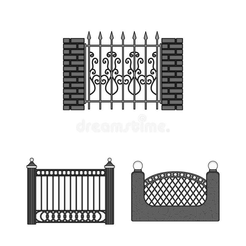 Objeto isolado do sinal da porta e da cerca Coleção do ícone do vetor da porta e da parede para o estoque ilustração stock