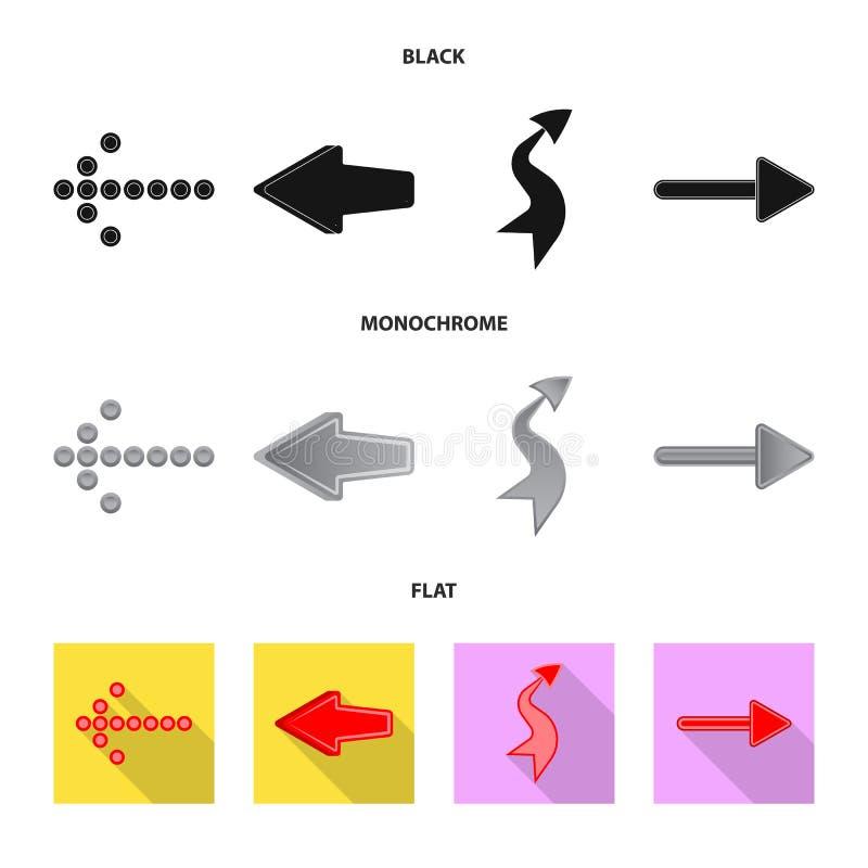 Objeto isolado do sinal do elemento e da seta Grupo de s?mbolo de a??es do elemento e do sentido para a Web ilustração do vetor