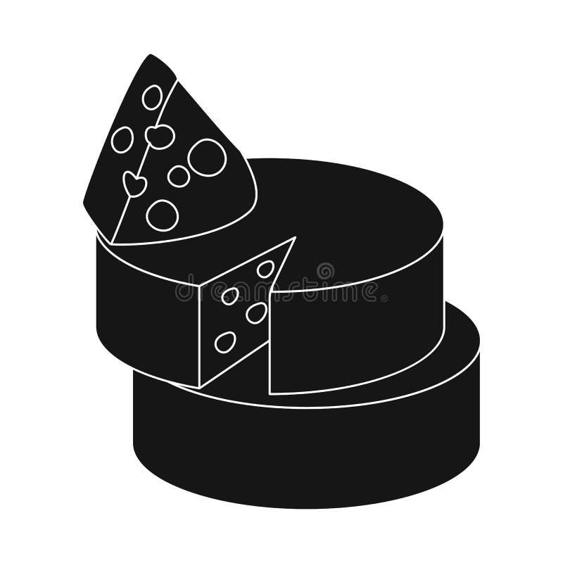 Objeto isolado do sinal do queijo e do queijo Cheddar Coleção da ilustração conservada em estoque do vetor do queijo e do Par ilustração royalty free