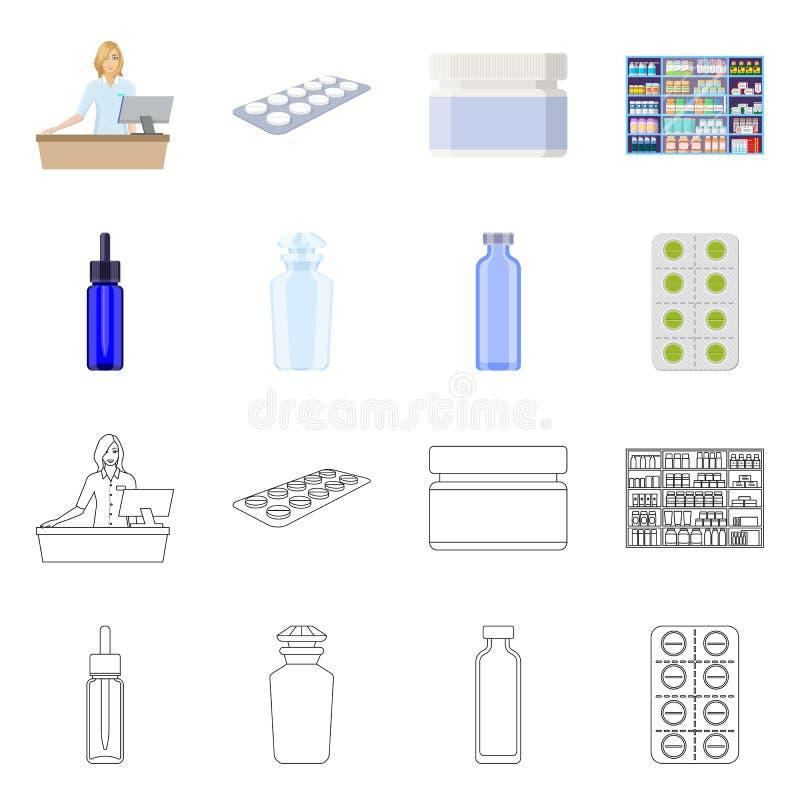 Objeto isolado do varejo e sinal de saúde Coleção de ilustração do vetor de estoque de varejo e bem-estar ilustração stock
