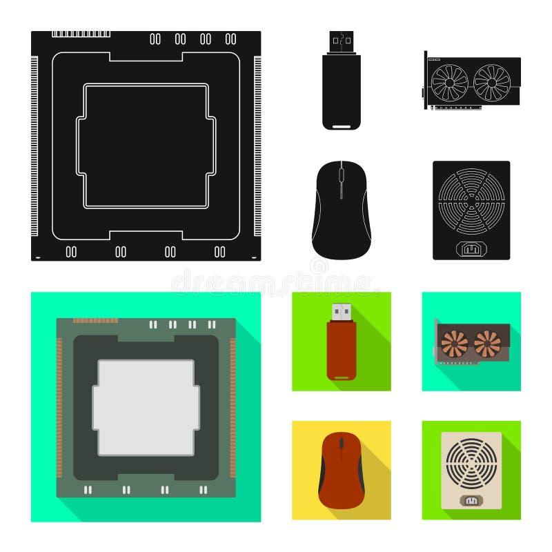 Objeto isolado dos acessórios e do símbolo do dispositivo Ajuste dos acessórios e do ícone do vetor da eletrônica para o estoque ilustração stock