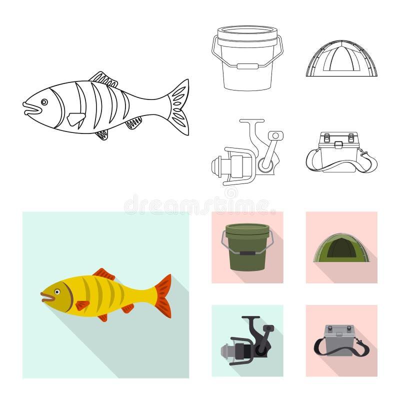 Objeto isolado dos peixes e do logotipo da pesca Cole??o do s?mbolo de a??es dos peixes e do equipamento para a Web ilustração do vetor