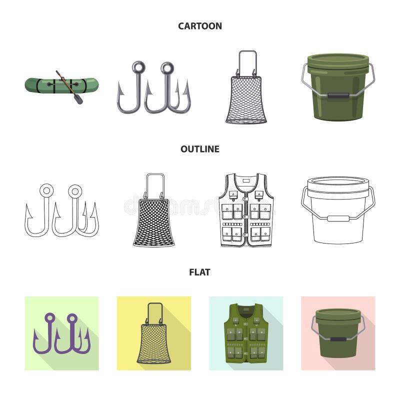 Objeto isolado dos peixes e do logotipo da pesca Grupo de s?mbolo de a??es dos peixes e do equipamento para a Web ilustração stock