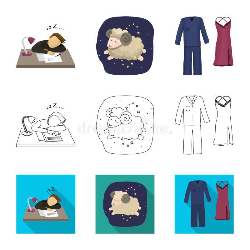Objeto isolado dos sonhos e do s?mbolo da noite Grupo de sonhos e ?cone do vetor do quarto para o estoque ilustração stock