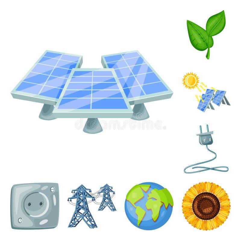 Objeto isolado e sinal orgânico Ícone do conjunto e do vetor solar para estoque ilustração do vetor