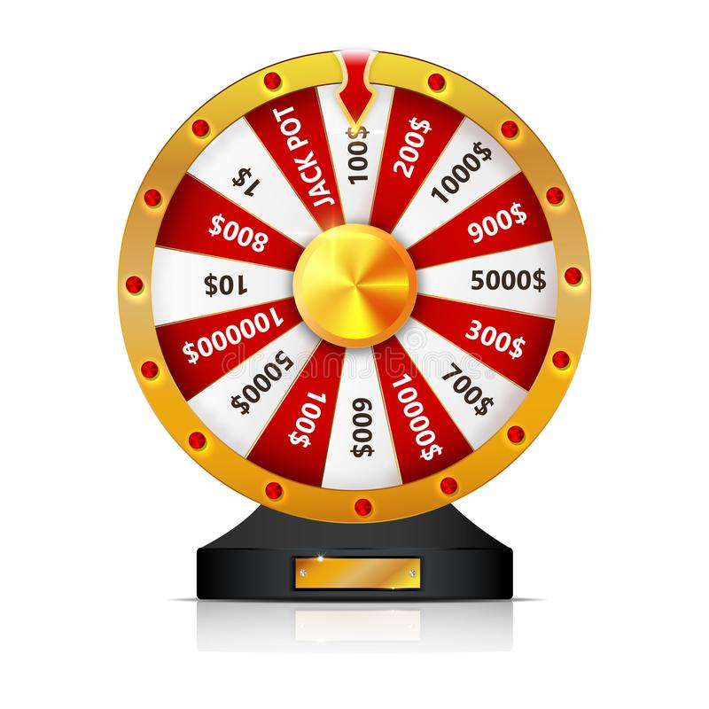 Objeto isolado roda da fortuna do vetor no fundo branco ilustração stock