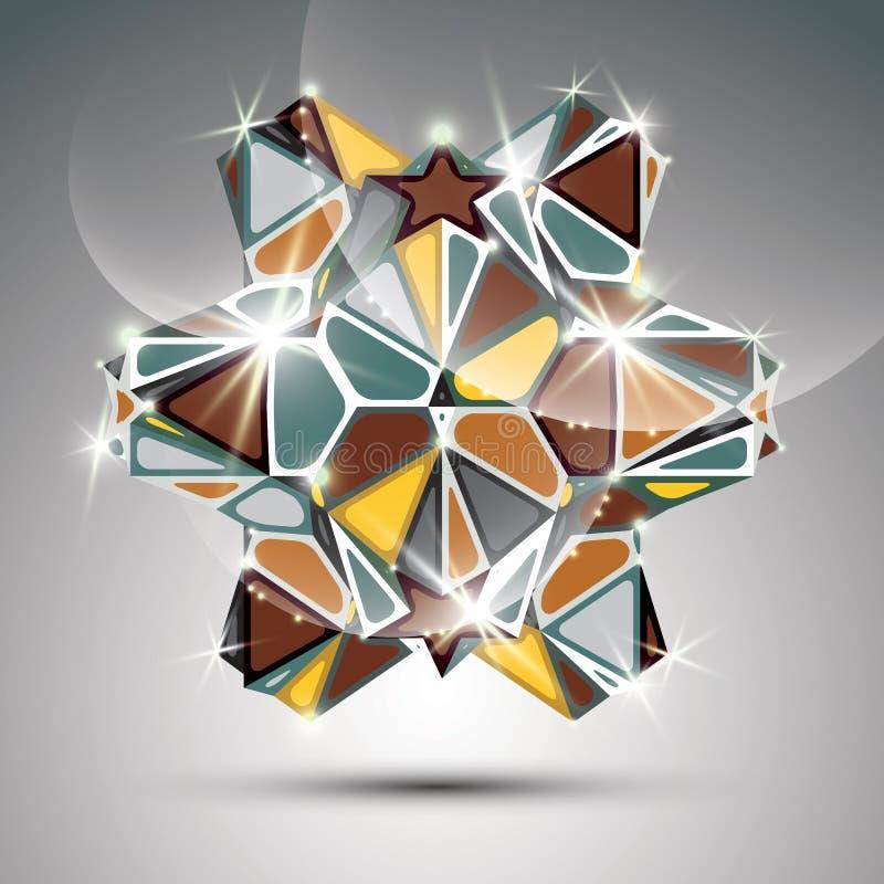Objeto lustroso do caleidoscópio do metal do partido 3D Vetor ilustração stock