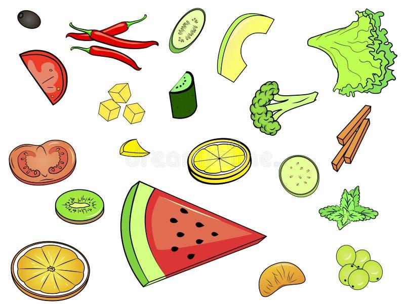 Objeto no fundo branco Muito alimento, componentes do alimento, receita Vetor ilustração do vetor