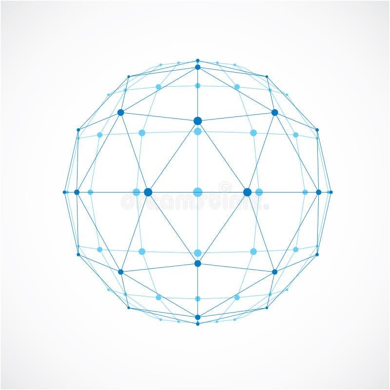 Objeto polivinílico bajo del vector abstracto con las líneas y el connec negros de los puntos libre illustration