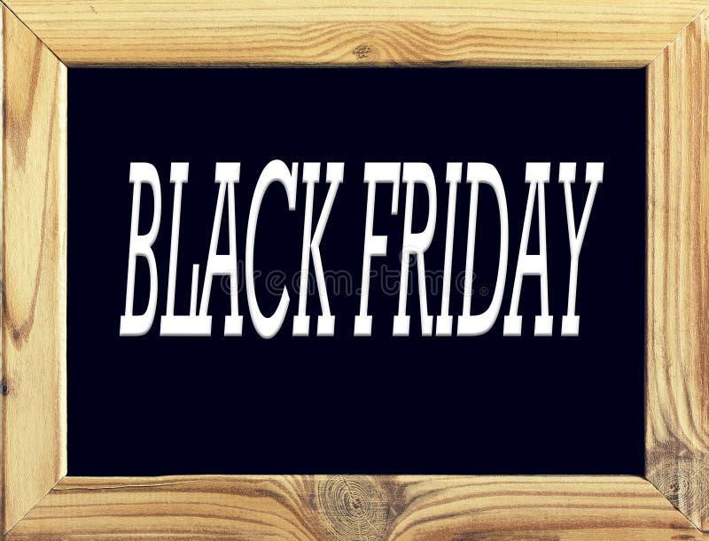 objeto Quadro de madeira com fundo preto e a inscrição Black Friday, quadro-negro ou administração da escola no branco ilustração stock