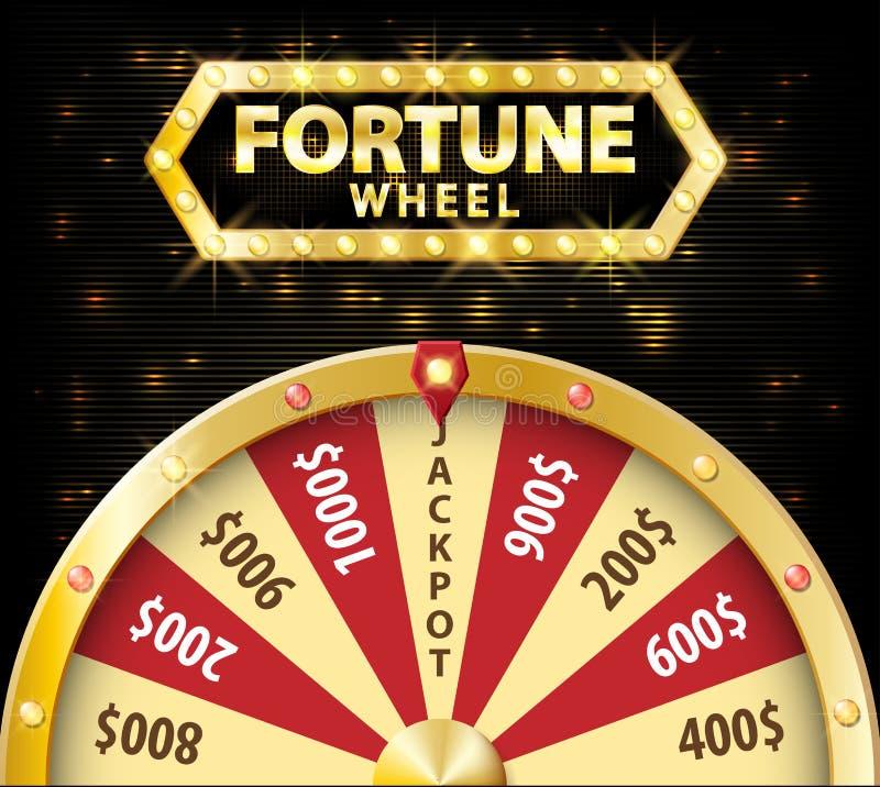 Objeto realístico da roda da fortuna 3d do ouro isolado no fundo escuro com lugar para o texto vetor afortunado da roleta ilustração do vetor