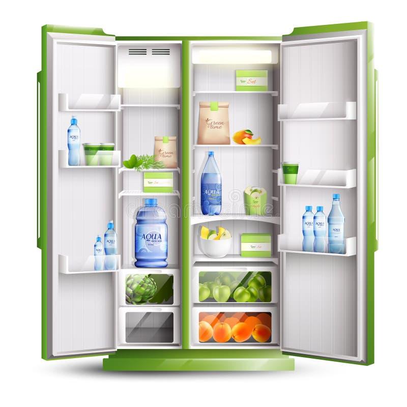 Objeto realista de la organización del refrigerador stock de ilustración