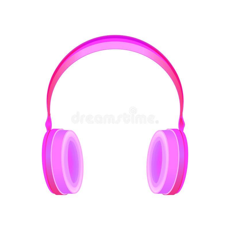 Objeto realista del vector de los auriculares del estilo rosado del inconformista stock de ilustración