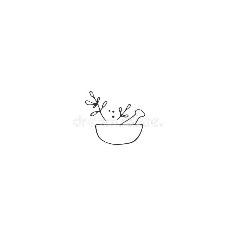 Objeto tirado m?o do vetor Elemento do logotipo da cozinha, uma bacia com especiarias ilustração stock