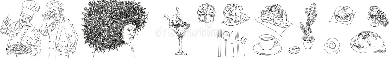 Objetos à seção do alimento para locais, tais como o vinho do pão além da fatia de bolo, de kaktus da cutelaria do café cozinheir ilustração royalty free