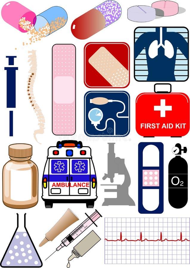 Objetos, ícones e logotipos médicos ilustração royalty free