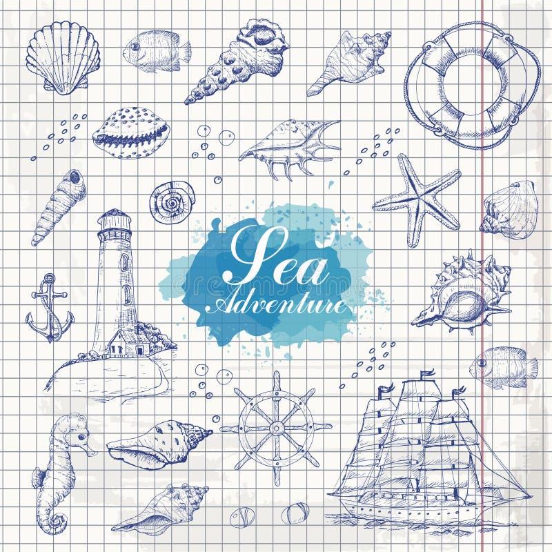 Objetos aislados del mar en el fondo de papel Cáscaras, estrellas de mar, ancla, faro, pescado, nave ilustración del vector