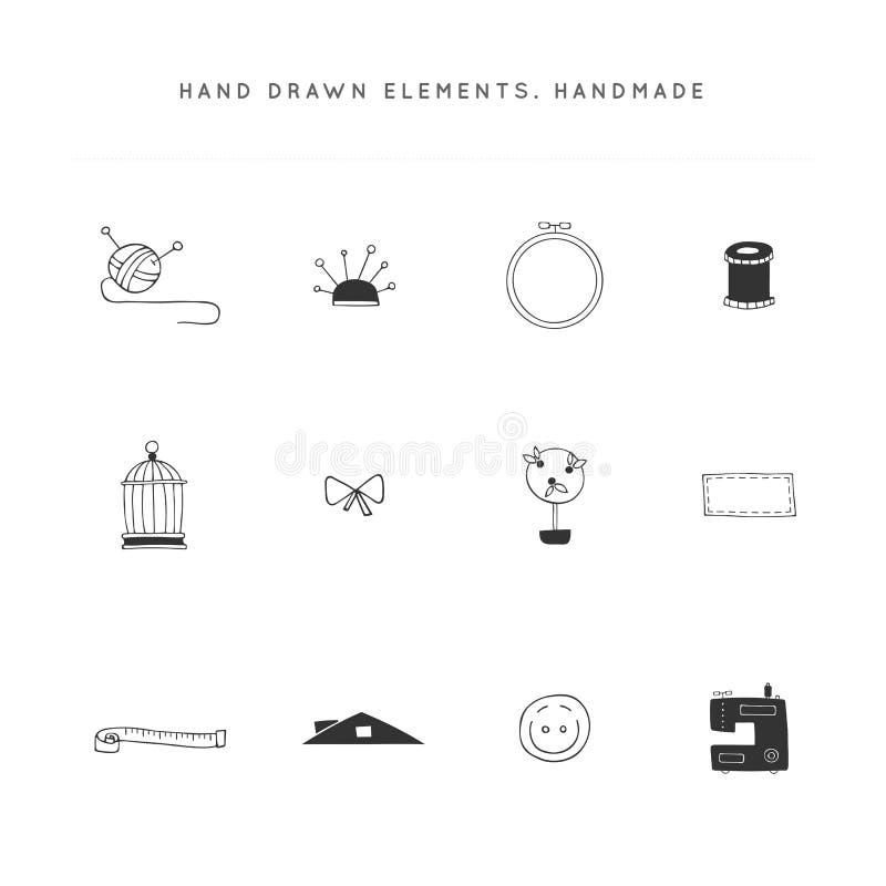 Objetos aislados dibujados mano Sistema del vector de elementos hechos a mano del logotipo ilustración del vector